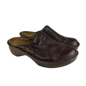 NAOT Brown Embroidered Leather Mule Clogs Size 41